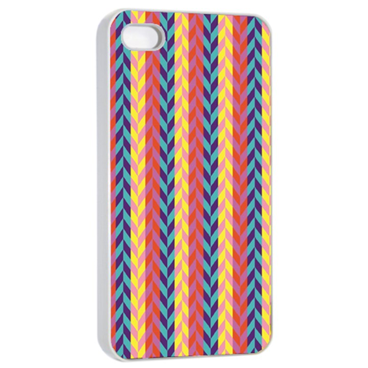 Colorful Chevron Retro Pattern Apple iPhone 4/4s Seamless Case (White)