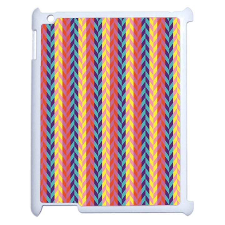 Colorful Chevron Retro Pattern Apple iPad 2 Case (White)