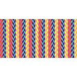 Colorful Chevron Retro Pattern Twin Hearts 3D Greeting Card (8x4) Front