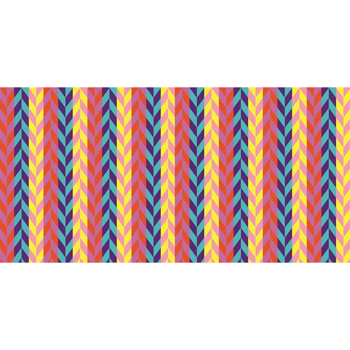 Colorful Chevron Retro Pattern YOU ARE INVITED 3D Greeting Card (8x4)