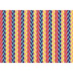 Colorful Chevron Retro Pattern LOVE Bottom 3D Greeting Card (7x5) Back