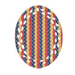 Colorful Chevron Retro Pattern Ornament (oval Filigree)