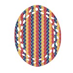 Colorful Chevron Retro Pattern Ornament (Oval Filigree)  Front