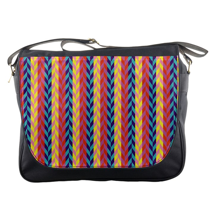 Colorful Chevron Retro Pattern Messenger Bags