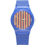 Colorful Chevron Retro Pattern Round Plastic Sport Watch (S) Front