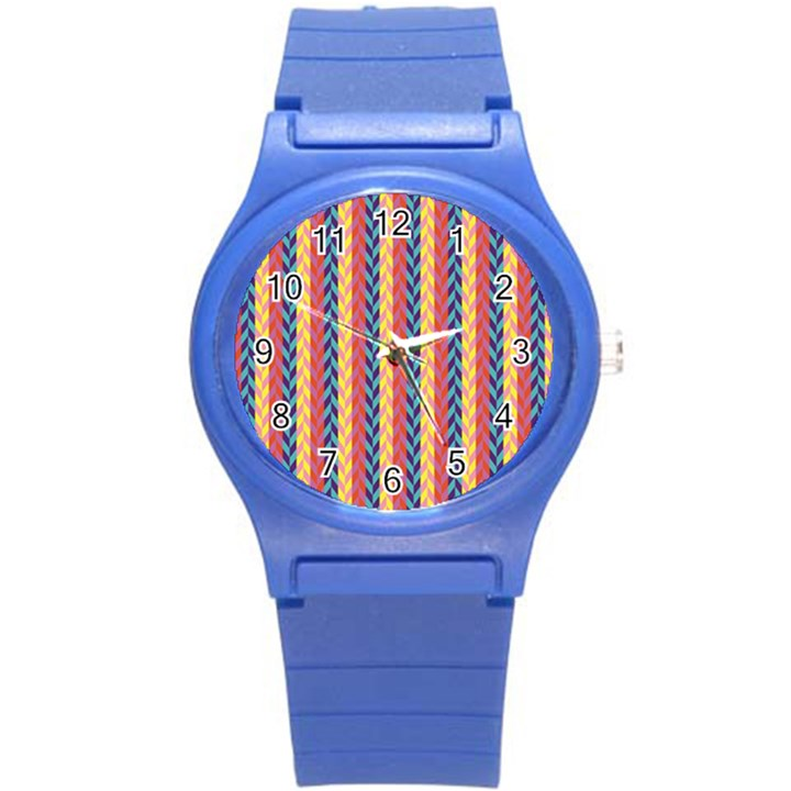 Colorful Chevron Retro Pattern Round Plastic Sport Watch (S)