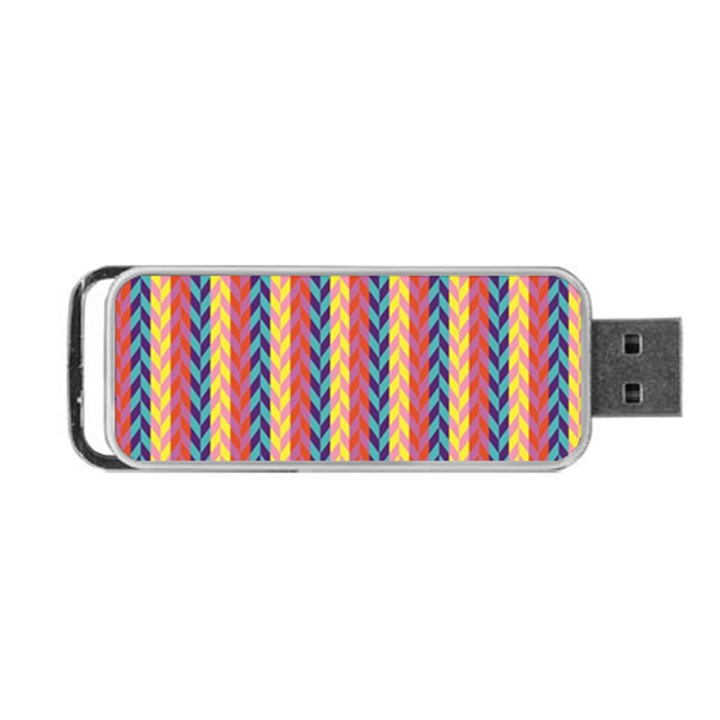 Colorful Chevron Retro Pattern Portable USB Flash (One Side)