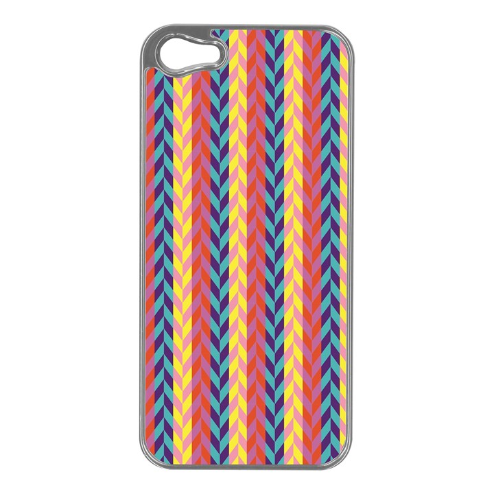 Colorful Chevron Retro Pattern Apple iPhone 5 Case (Silver)