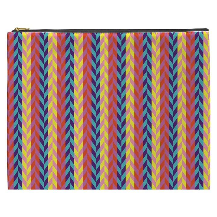Colorful Chevron Retro Pattern Cosmetic Bag (XXXL)