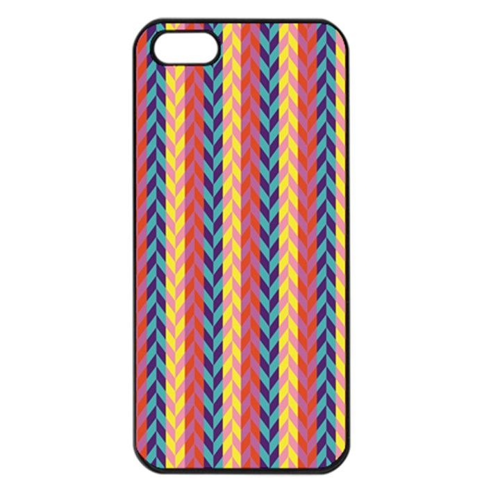 Colorful Chevron Retro Pattern Apple iPhone 5 Seamless Case (Black)