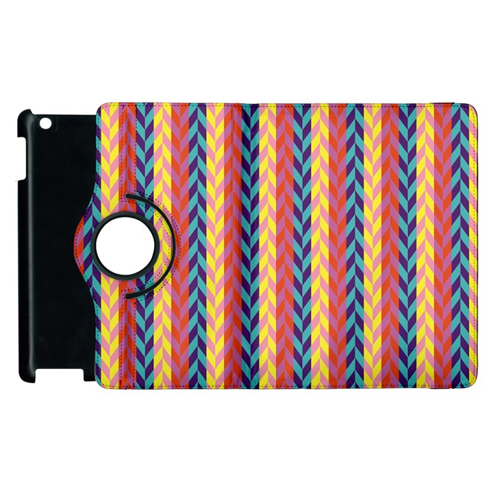 Colorful Chevron Retro Pattern Apple iPad 3/4 Flip 360 Case