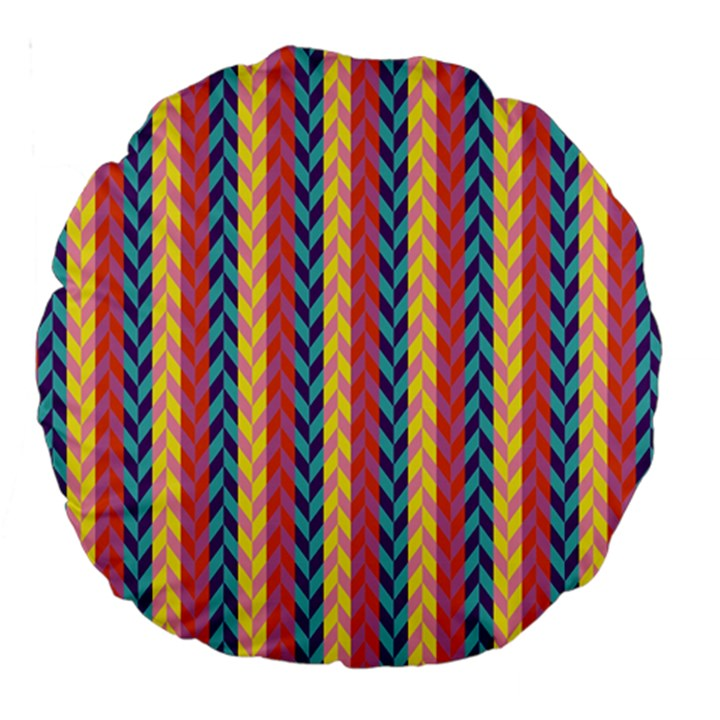 Colorful Chevron Retro Pattern Large 18  Premium Round Cushions