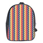 Colorful Chevron Retro Pattern School Bags (XL)  Front