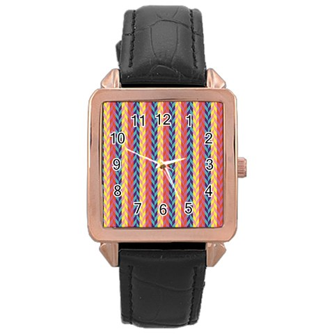 Colorful Chevron Retro Pattern Rose Gold Leather Watch