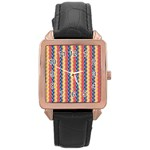 Colorful Chevron Retro Pattern Rose Gold Leather Watch  Front