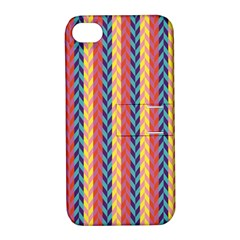 Colorful Chevron Retro Pattern Apple Iphone 4/4s Hardshell Case With Stand