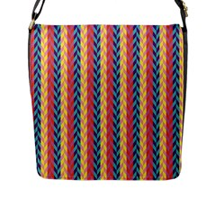 Colorful Chevron Retro Pattern Flap Messenger Bag (L)