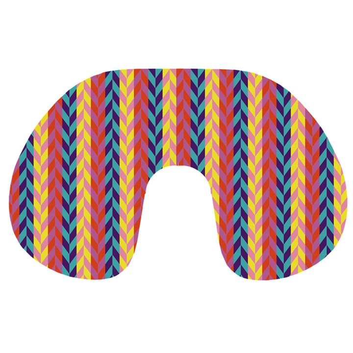Colorful Chevron Retro Pattern Travel Neck Pillows