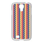 Colorful Chevron Retro Pattern Samsung GALAXY S4 I9500/ I9505 Case (White) Front