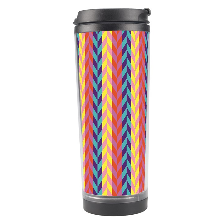 Colorful Chevron Retro Pattern Travel Tumbler