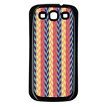 Colorful Chevron Retro Pattern Samsung Galaxy S3 Back Case (Black) Front