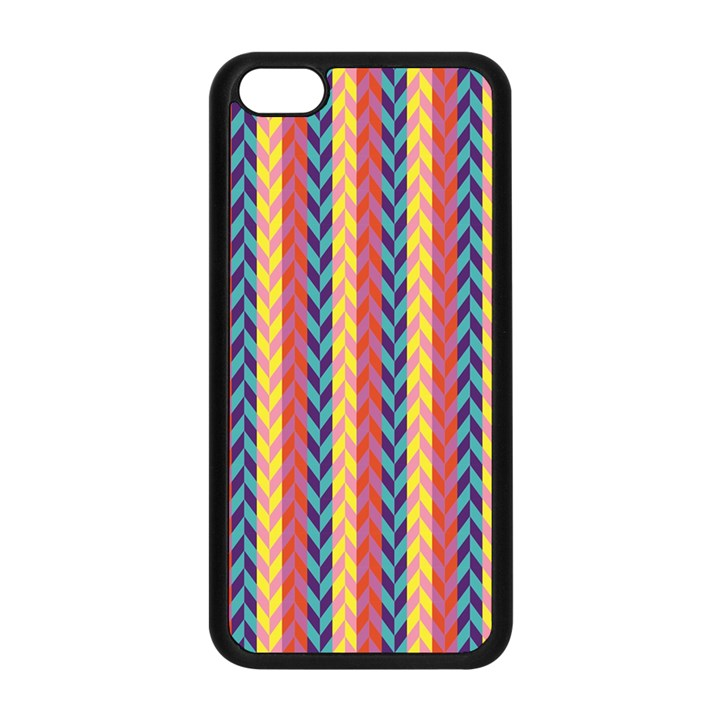 Colorful Chevron Retro Pattern Apple iPhone 5C Seamless Case (Black)
