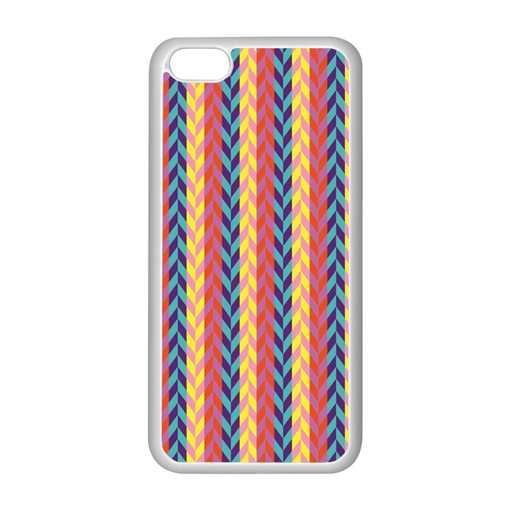 Colorful Chevron Retro Pattern Apple iPhone 5C Seamless Case (White)