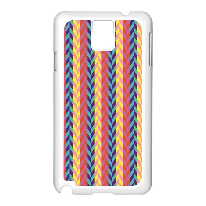 Colorful Chevron Retro Pattern Samsung Galaxy Note 3 N9005 Case (White)
