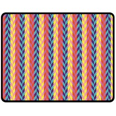 Colorful Chevron Retro Pattern Double Sided Fleece Blanket (Medium)