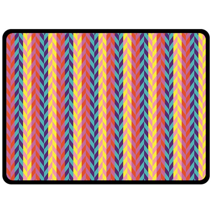 Colorful Chevron Retro Pattern Double Sided Fleece Blanket (Large)