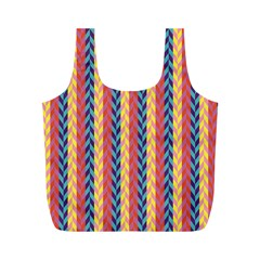 Colorful Chevron Retro Pattern Full Print Recycle Bags (M)