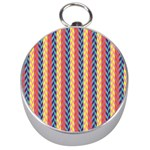 Colorful Chevron Retro Pattern Silver Compasses Front