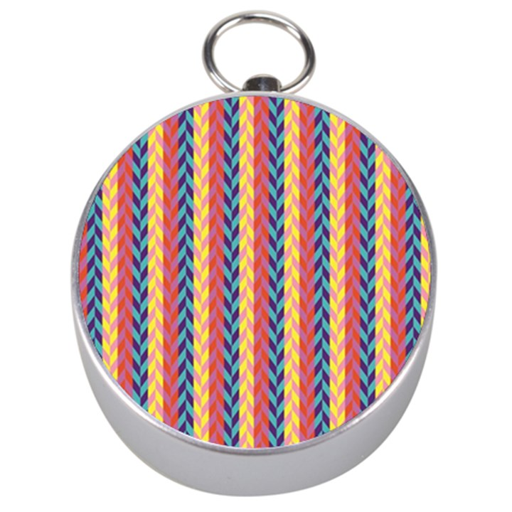Colorful Chevron Retro Pattern Silver Compasses