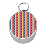 Colorful Chevron Retro Pattern Mini Silver Compasses Front