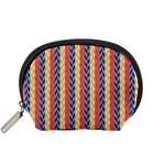 Colorful Chevron Retro Pattern Accessory Pouches (Small)  Front