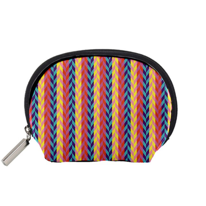 Colorful Chevron Retro Pattern Accessory Pouches (Small)