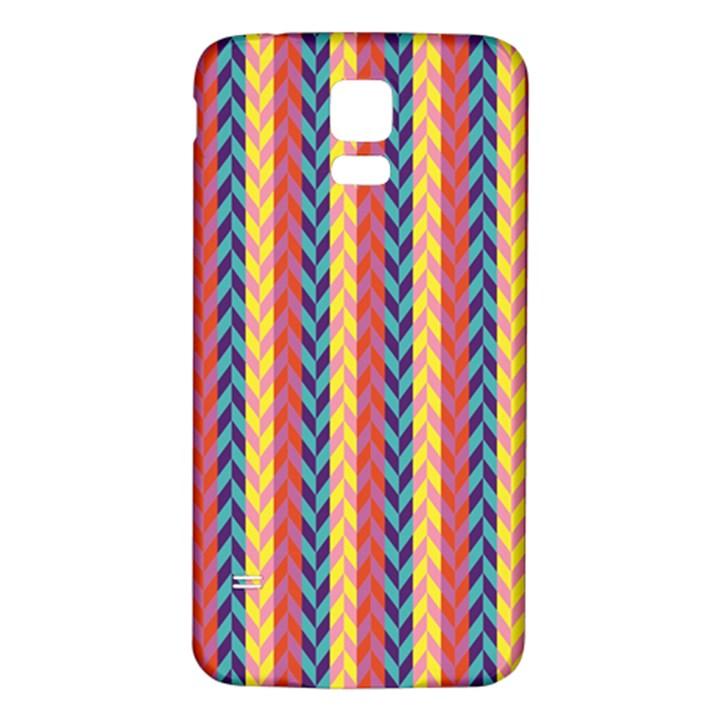 Colorful Chevron Retro Pattern Samsung Galaxy S5 Back Case (White)