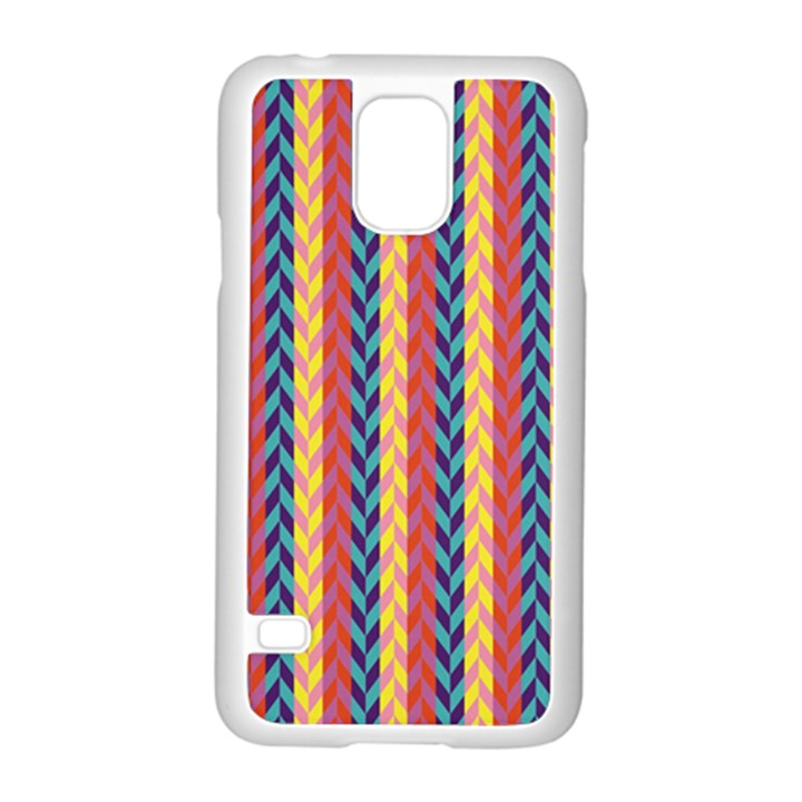 Colorful Chevron Retro Pattern Samsung Galaxy S5 Case (White)