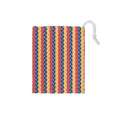 Colorful Chevron Retro Pattern Drawstring Pouches (small)
