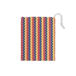 Colorful Chevron Retro Pattern Drawstring Pouches (Small)  Front