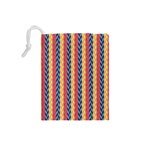 Colorful Chevron Retro Pattern Drawstring Pouches (Small)  Back