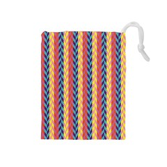 Colorful Chevron Retro Pattern Drawstring Pouches (Medium)