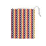 Colorful Chevron Retro Pattern Drawstring Pouches (Medium)  Front