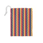 Colorful Chevron Retro Pattern Drawstring Pouches (Medium)  Back