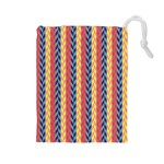 Colorful Chevron Retro Pattern Drawstring Pouches (Large)  Front