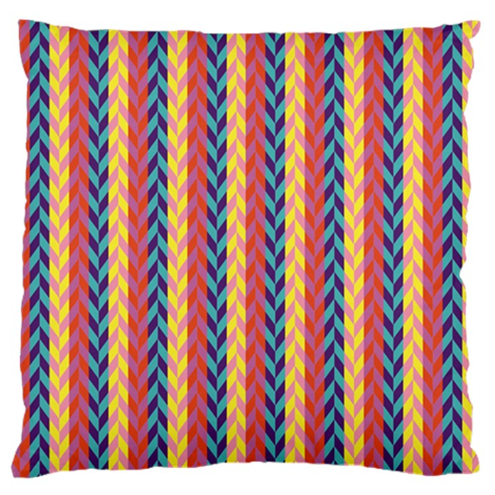 Colorful Chevron Retro Pattern Large Flano Cushion Case (One Side)