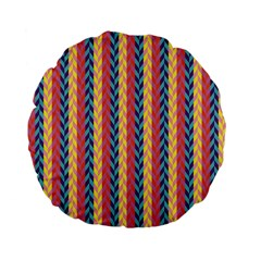 Colorful Chevron Retro Pattern Standard 15  Premium Flano Round Cushions