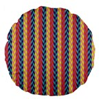 Colorful Chevron Retro Pattern Large 18  Premium Flano Round Cushions Back
