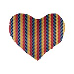 Colorful Chevron Retro Pattern Standard 16  Premium Flano Heart Shape Cushions Front