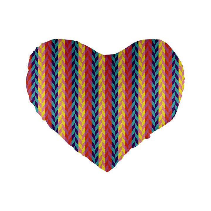 Colorful Chevron Retro Pattern Standard 16  Premium Flano Heart Shape Cushions